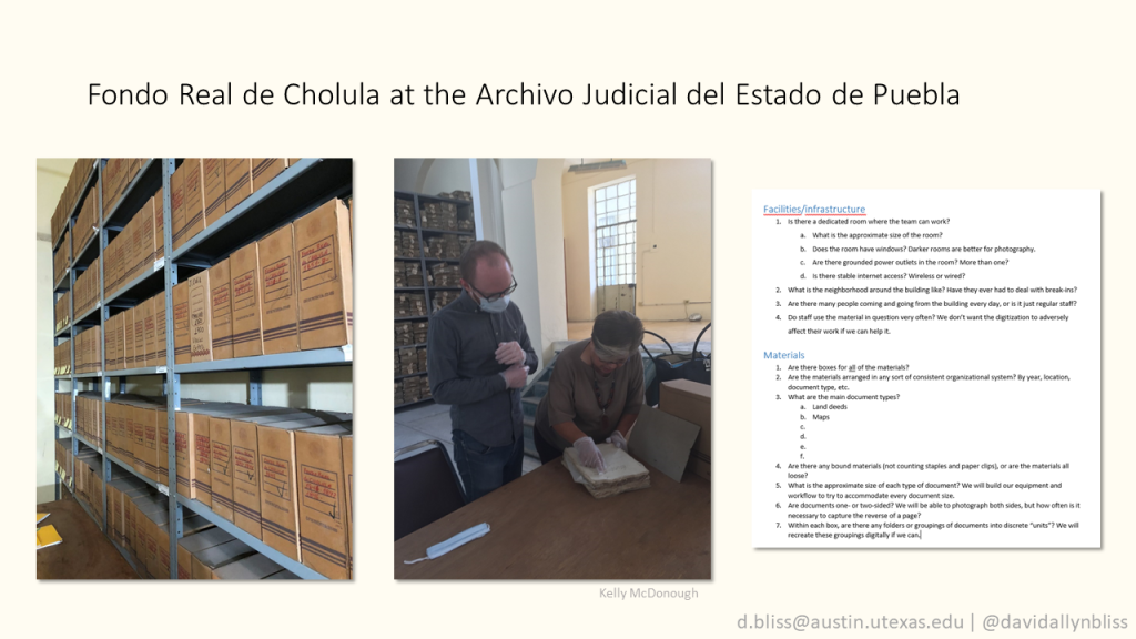 """Slide with title """"Fondo Real de Cholula at the Archivo Judicial del Estado de Puebla"""". Photo of several hundred archival boxes on metal shelves in an archive. Photo of man and woman examining a document on a table. Screenshot of a list of questions about the archive and collection."""